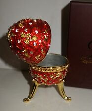 Taylor Avedon Red gold Enameled Crystal Accented EGG Music Trinket Box - New