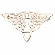 Sterling Silver Celtic Knotwork Brooch / Pin Traditional Gaelic Irish Design