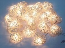 VALENTINE STRING LIGHTS CLASSIC WHITE HEART 20 RATTAN PARTY,PATIO,DECOR,WEDDING