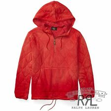 $345 RRL Ralph Lauren Country Red Vintage Quilted Pullover Cotton Hoodie-MEN- XL