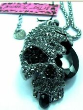 New Betsey Johnson Retro black Skull pendant necklace !