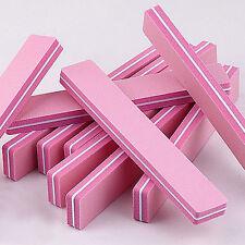 10PCS Rectangle Pink Nail Art File 100/180 Washable Sunshine Buffer Buffing