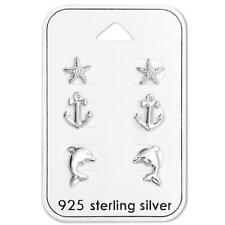Womans Girls Sterling Silver Ocean Sea Earrings Set- Dolphins Anchors & Starfish
