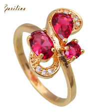 AR191 Top quality Wholesale 18K gold plated Red cubic zirconia Ruby rings size 7