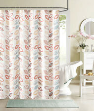 Country Floral Pink Coral Orange Beige Flower Fabric Shower Curtain