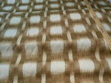BROWN TAN CREAM  IKAT COTTON PLAID UPHOLSTERY FABRIC
