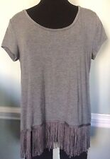 Women's EXPRESS Gray Boxy Top with Fringe ~ Size M