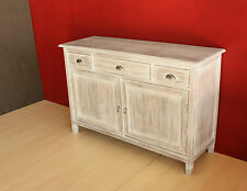 Mobile Buffet shabby chic Credenza in legno Teak massello bianco decapato OUTLET