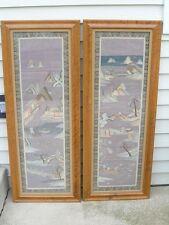 Pair Large Antique Chinese Kesi Kossu Silk Goldwire Tapestry Framed People Land