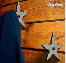 NEW  1pcs x Cool Metal silver NINJA Throwing Star Coat Hook Wall Hanger 8999