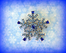 BLUE CRYSTAL RHINESTONE SNOWFLAKE PIN BROOCH~CHRISTMAS HANUKKAH GIFT FOR WOMEN