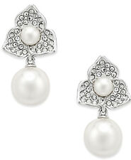Eliot Danori Silver-Tone Imitation Pearl Flower Drop Earrings