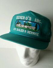 RV Sales Hat Seven Os Vintage Advertising Snapback Cap Teal Trucker style