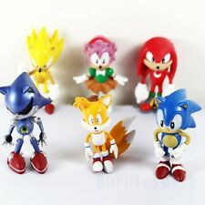 6Pcs set The HEDGEHOG Super Sonic Characters PVC  Figure Loose