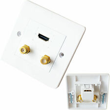 HDMI & 2x Double F-Connector Wall Face Plate-Outlet Module Sky Plus-Coaxial TV