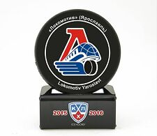 KHL Official Hockey Puck with holder. Lokomotiv Yaroslavl