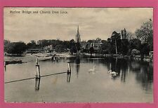 Dated 1918. Marlow Bridge and Church from Lock, Buckinghamshire.