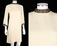 VTG 1960s RANELLE IVORY CREPE EMBELLISHED MOD COCKTAIL DRESS SZ M