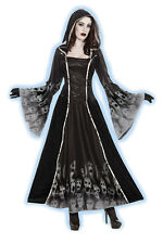 LADIES GOTHIC MEDIEVAL BLACK HOODED DEAD SOULS GOWN COSTUME OUTFIT NEW 10-12-14