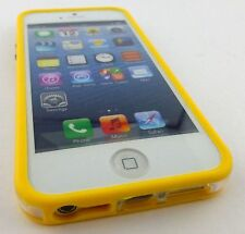YELLOW CLEAR HARD TPU GEL PC HYBRID BUMPER CASE COVER FOR APPLE IPHONE 5 5S SE