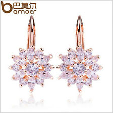 New Luxury 18K Plated Gold Flower Stud Earrings with Zircon Stone For LadiesGift
