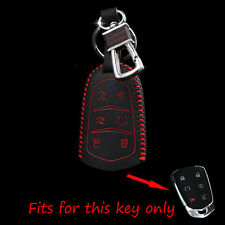 Leather Key Holder For Cadillac Escalade CTS ATS Smart Remote Case Cover Chain
