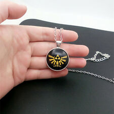 Zelda Hyrule crest triforce Glass Cabochon Tibet silver pendant chain necklace