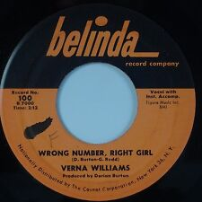 VERNA WILLIAMS: Wrong Number, Right Girl BELINDA Soul 45 Rare HEAR VG++