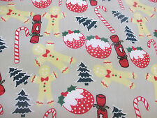 Silver Grey Gingerbread men, Candy Cane, Christmas Printed Polycotton Fabric