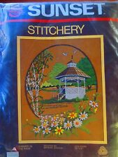 "vintage new SUNSET SUMMER IN THE PARK gazebo embroidery stitchery kit 16""X20"""