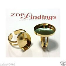 4pcs x 18x13mm Oval Gold Plated Adjustable Ring Bezel Cup Setting (R1813OVGP)