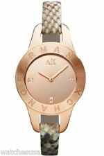 Armani Exchange Ladies Rose Gold-Tone Python-Stamped Leather Watch AX4129