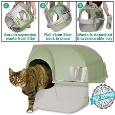 Omega Paw Self Cleaning Cat Litter Box Large Roll Kitty Pewter Scoop Automatic