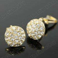CLIP ON 1.2cm CRYSTAL round EARRINGS small GOLD FASHION glass rhinestone CLIPS