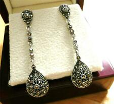 LONG MARCASITE 925 STERLING SILVER ART DECO LONG DROP DANGLE EARRINGS NEW STOCK!