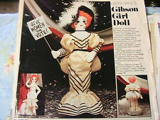 "GIBSON GIRL~RARE 1983 whimsical 16"" cloth art doll pattern from magazine"