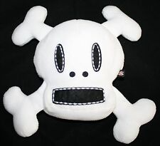 "Halloween SKULL PILLOW 6"" Paul Frank Plush Skurvy Julius White Black Cross Bones"