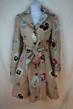 Anthropologie Pansy Corset Trench Coat by Elevenses Size 4 Jacket Floral Cotton