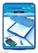 A4 Clipboard Box File BLUE Durable Waterproof Office Storage Case documents only