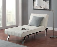 Sofa Couch Chaise Futon White Faux Leather Lounge Chair Living Room Furniture