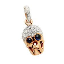 14K ROSE GOLD PAVE NATURAL DIAMOND & SAPPHIRE GOTHIC SKULL PENDANT NECKLACE