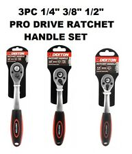 """1/4"""" 3/8"""" 1/2"""" PRO DRIVE RATCHET HANDLE SET QUICK RELEASE STEEL SPANNER WRENCH"""