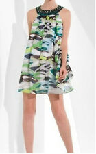 $298 BCBG ULTRA GREEN BEADED SILK CHIFFON DRESS NWT 4