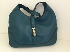 Stunning Gucci Teal Buttery Soft Leather Jackie O Shoulder Bag Valentines Gift