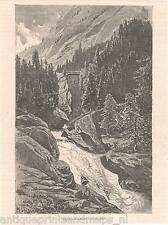 Antique print Rofla Canyon rhine river Switzerland 1879 / holzstich Schweiz