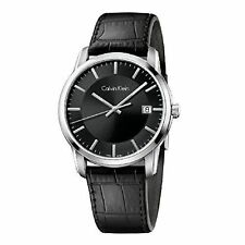 Calvin Klein Infinite Silver Black Leather Analog Quartz Women's Watch K5S311C1