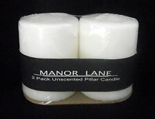 "Candle White 3"" Pillar 2 Wedding Decor Unscented Pair Manor Lane New Sealed Wick"