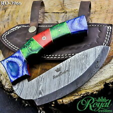 "7"" ROYAL HAND FORGED DAMASCUS ULU KNIFE - MULTI COLOR WOOD - RO-3966"