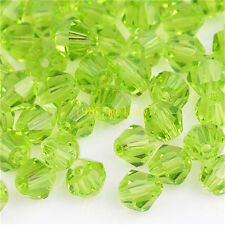 100pcs Olive exquisite Glass Crystal 4mm #5301 Bicone Beads loose beads