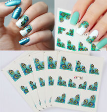 5sheets Feather Eyes French Edge Nail Art Water Decal Transfer Manicure Sticker